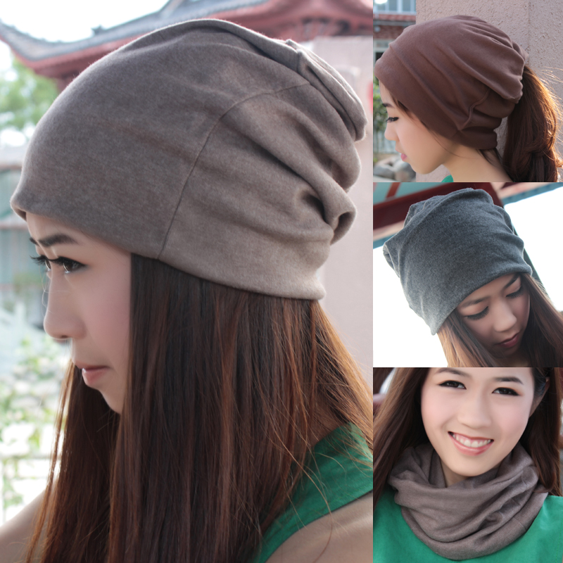 8172cac93c3 Fashion New Women Hiphop woman caps Pile cap toe covering turban muffler  winter women cap beanies Hair ribbons grey