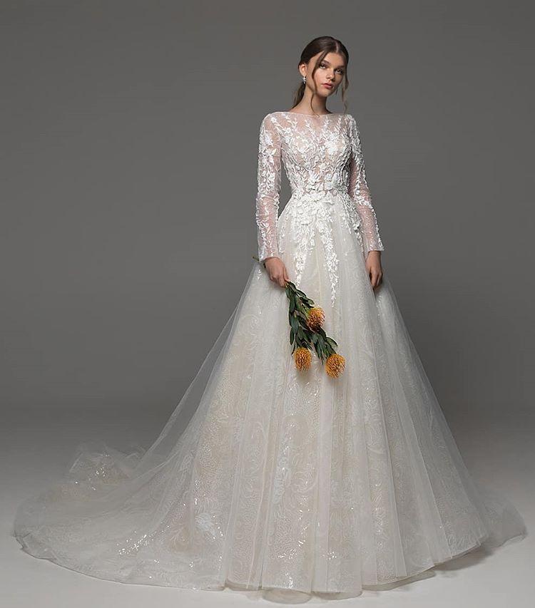 Eslieb 2019 vestido de boda sirena de alta calidad de encargo de Apliques de encaje de manga larga burletes cremallera HA099