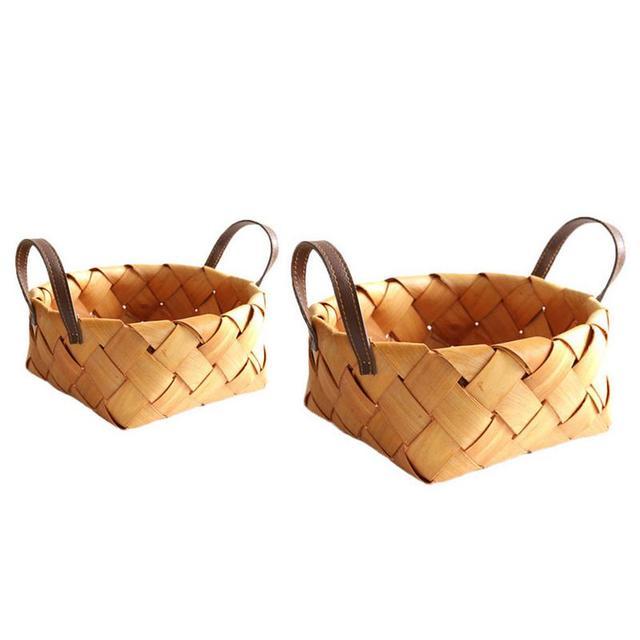 Tecido cesta de lascas de madeira Japonês pão redondo Mão tecido cesta de armazenamento de frutas com portátil cesta de armazenamento de cozinha