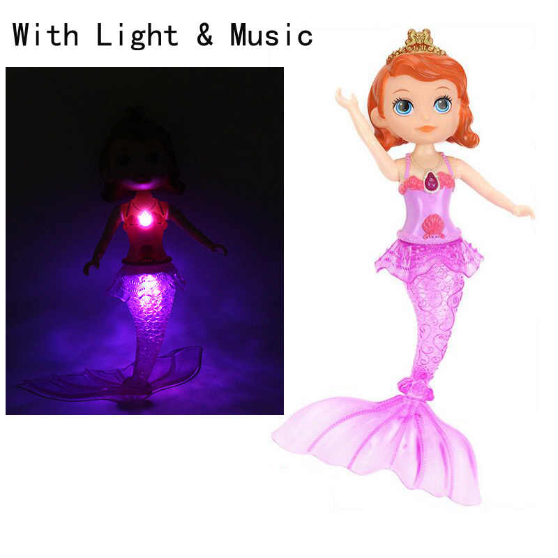 2017 New Fish Princess Dolls Toys With Light Music Girl Gift set toys