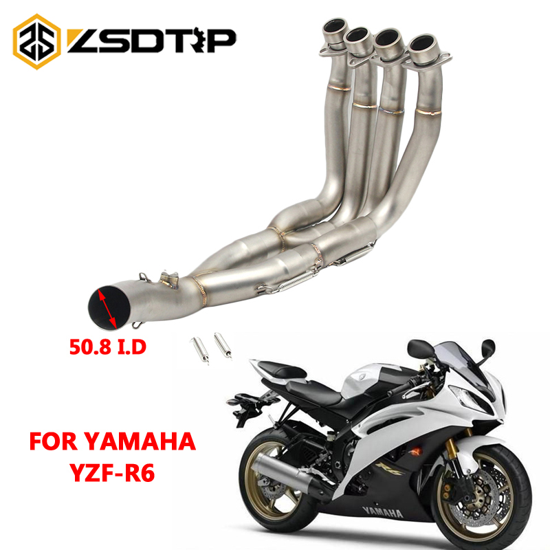 ZSDTRP Motorcycle Modified Full System Stainless Steel For Yamaha YZF R6 2008-2016 Motorcycle Muffler Escape Pipe With Sensor