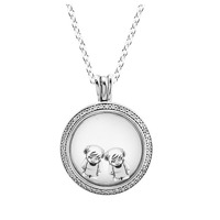 Necklace 100% 925 Sterling Silver Jewelry Medium Sparkling Signature Locket Necklace Fits Little Boy and Girl Petite Charms