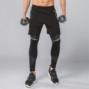 Image 4 - 2Pcs Mannen Running Tights Shorts Broek Sport Kleding Voetbal Leggings Compressie Fitness Voetbal Basketbal Panty Ritsvak