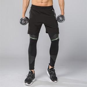 Image 4 - 2Pcs Men Running Tights Shorts Pants Sport Clothing Soccer Leggings Compression Fitness Football Basketball Tights Zipper Pocket