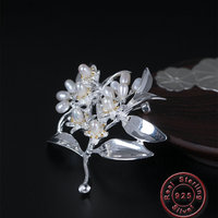 Amxiu Luxury 925 Silver Brooch Handmade Freshwater Pearls Brooches Pins Flower Tree Brooch Jewelry Women Clothes Hat Accessories