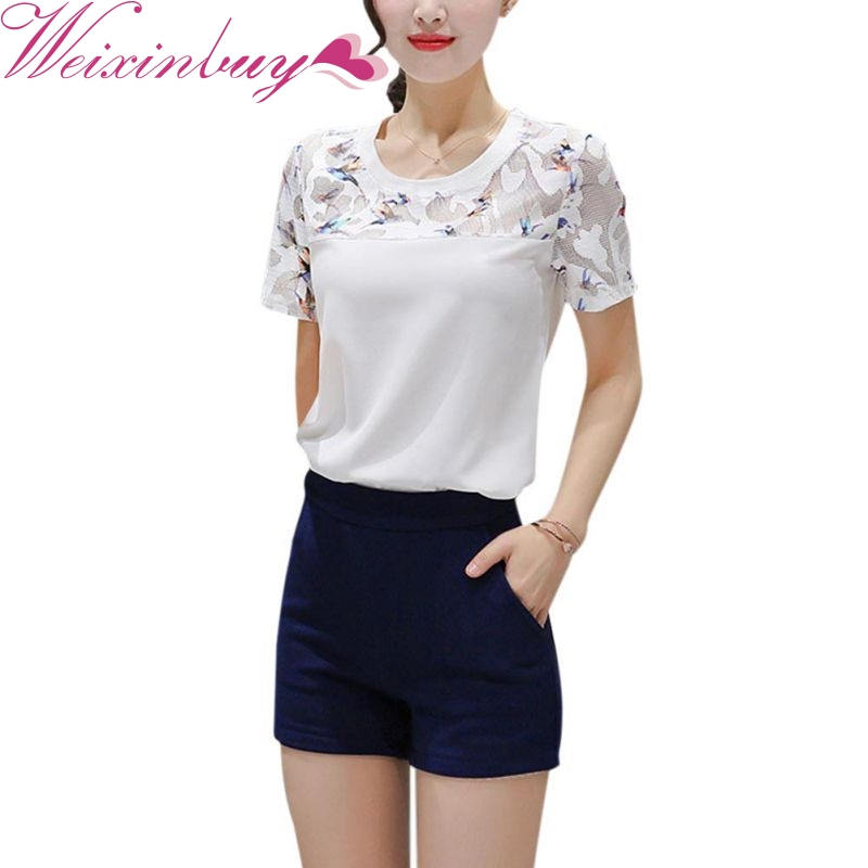 WEIXINBUUY New Fashion Women T-shirt Short-sleeve Loose Ladies Office Casual tshirt Plus Size O-neck Lace Patchwork Tee