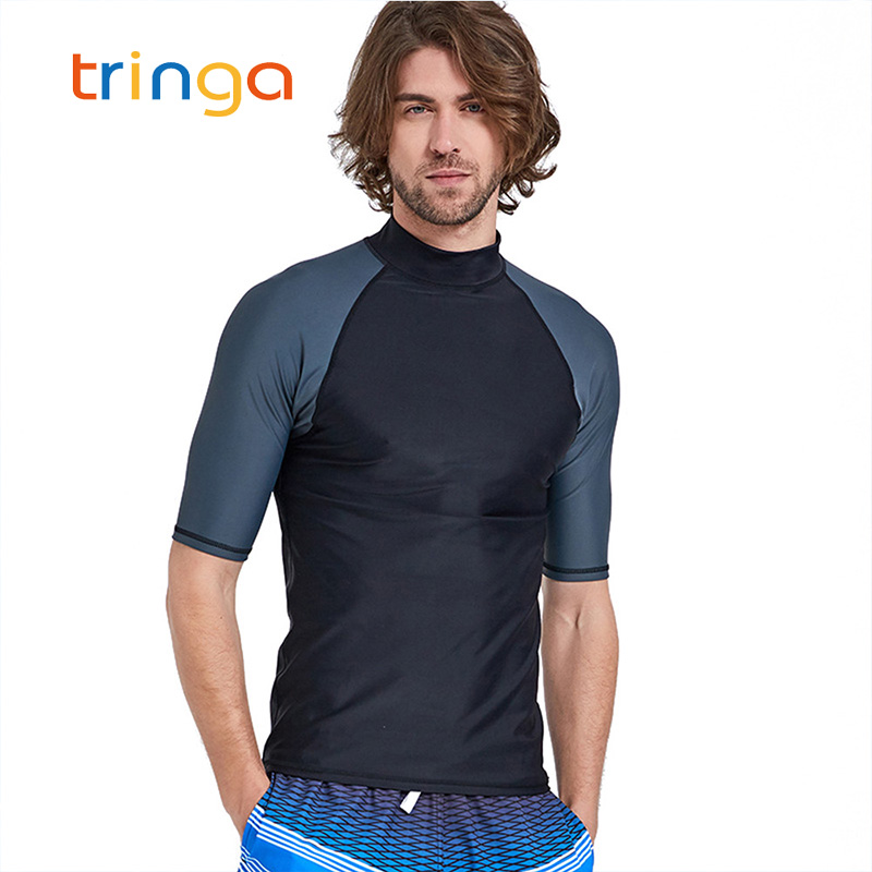 1PC Solid Color Rash Guard T Shirts Short Sleeve Men Swimsuits Tops Male Swimwear Surf Sailing Bathing Suits Mens