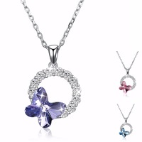 WARM COLORS Crystal From Swarovsk 925 sterling silver Women Butterfly Pendant Necklace Fine Jewelry Inlaid Zircon Round Circles