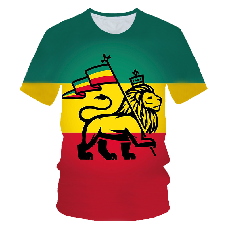 2019 summer 3D Print lion Carry Flag Rastafari   T  -  shirt   Men Short Sleeve Rasta Rastafarian 420 Weed Unisex Top Tee   T     Shirt