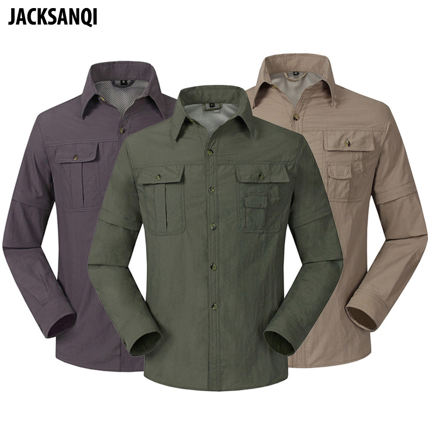 JACKSANQI New Men's Summer Quick Dry Removable Outdoor Shirts Breathable Sports Fishing Trekking Hiking Male Thin Clothing RA098