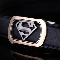 High QualityMens Luxury Brand Belt Business Belts Superman Automatic Buckle Genuine Leather Belt Men Casual Waist