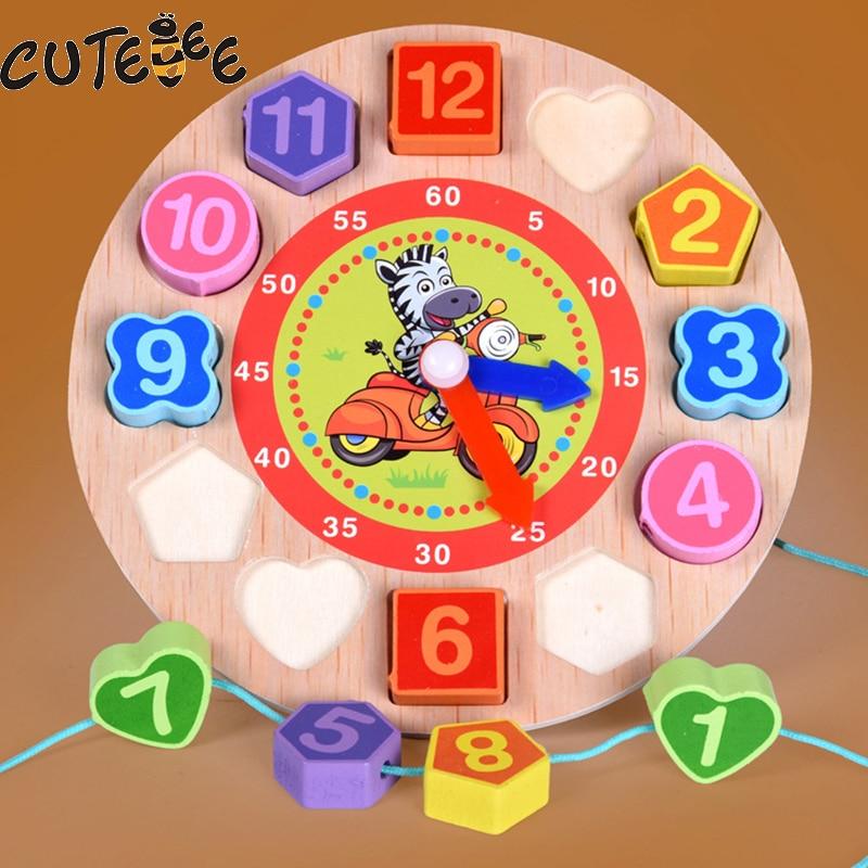 CUTEBEE Puzzle Wooden Clock Montessori Educational Toys For Children Kids Toy Animal Cartoon Digital Geometry Clock