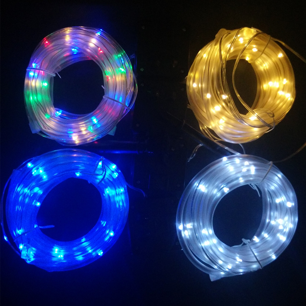 12 M 100 נוריות LED שמש אורות מחרוזת חיצונית חבל 4 צבעים צינור Led מחרוזת אורות פיות מופעל שמש לגדר גינה נוף