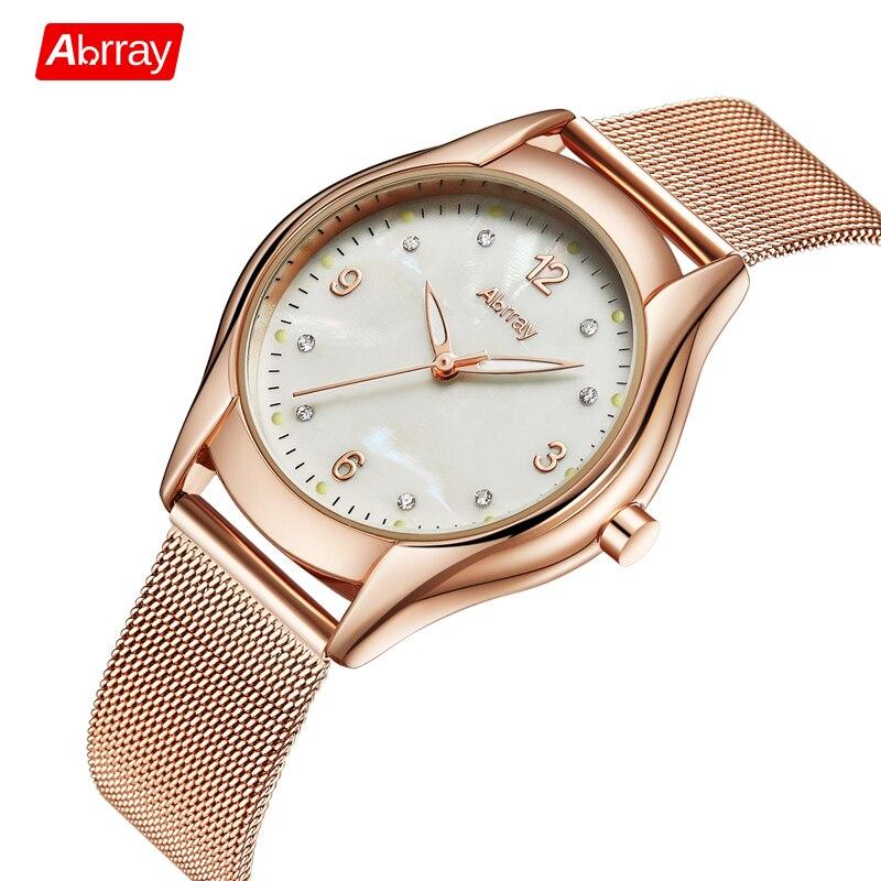 Abrray Fashion Women Stainless Steel Mesh Watches 2017 Ladies Ultra Thin Wristwatches Japanese Quartz Movement Watch Waterproof