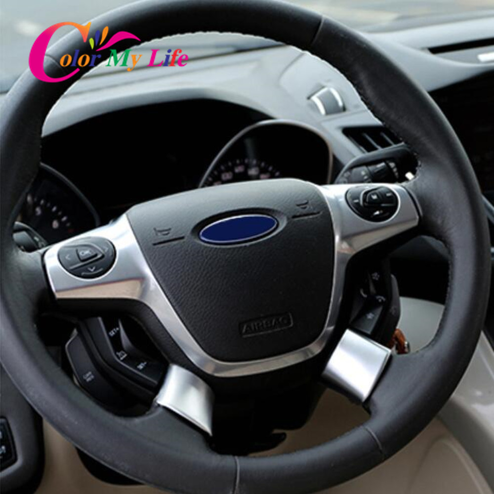 Color My Life Car ABS Chrome Interior Steering Wheel Decoration Trim Sticker For Ford C-MAX CMAX 2011 - 2014 Accessories