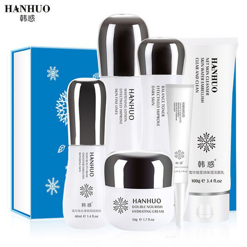 ФОТО Hanhuo 6pcs Face Care Set Rose Extract Facial Cleanser & Moist Essence Cream Toner Moisturizing Emulsion Hydrating Anti Wrinkle