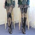 Европейский Искусственного Кожаные леггинсы женские шить весна осень леопарда колено хип push up брюки тощий стиль