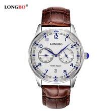 LONGBO Marca de Lujo relogio masculino Cuero Genuino Pantalla Analógica Fecha hombres Reloj de Cuarzo Reloj Deportivo Reloj de Los Hombres 80103