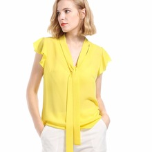 Summer Italian fashion personality new hot hollow dignified solid color female sexy casual chiffon shirt short sleeve