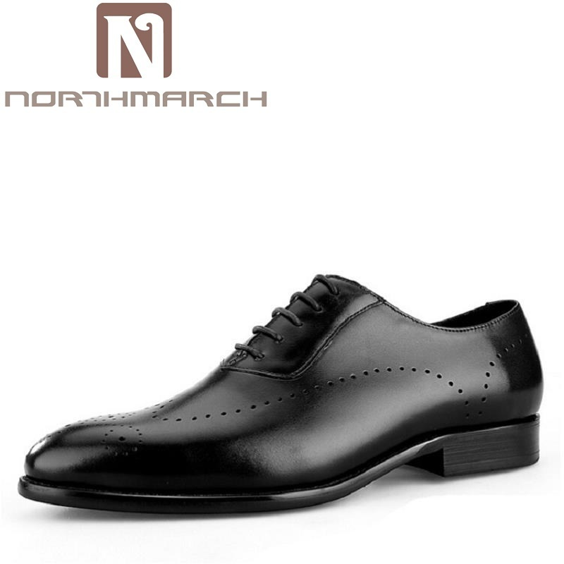 NORTHMARCH Fashion Genuine Leather Oxford Shoes Lace Up Casual Business Men Suit Shoes Men Brand Leather Wedding Brogue Shoes green casual lace beaded suit