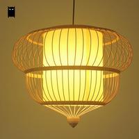 Bamboo Wicker Rattan Cage Shade Chandelier Light Fixture Rustic Country Asian Hanging Ceiling Pendant Lamp Luminaria Handmade