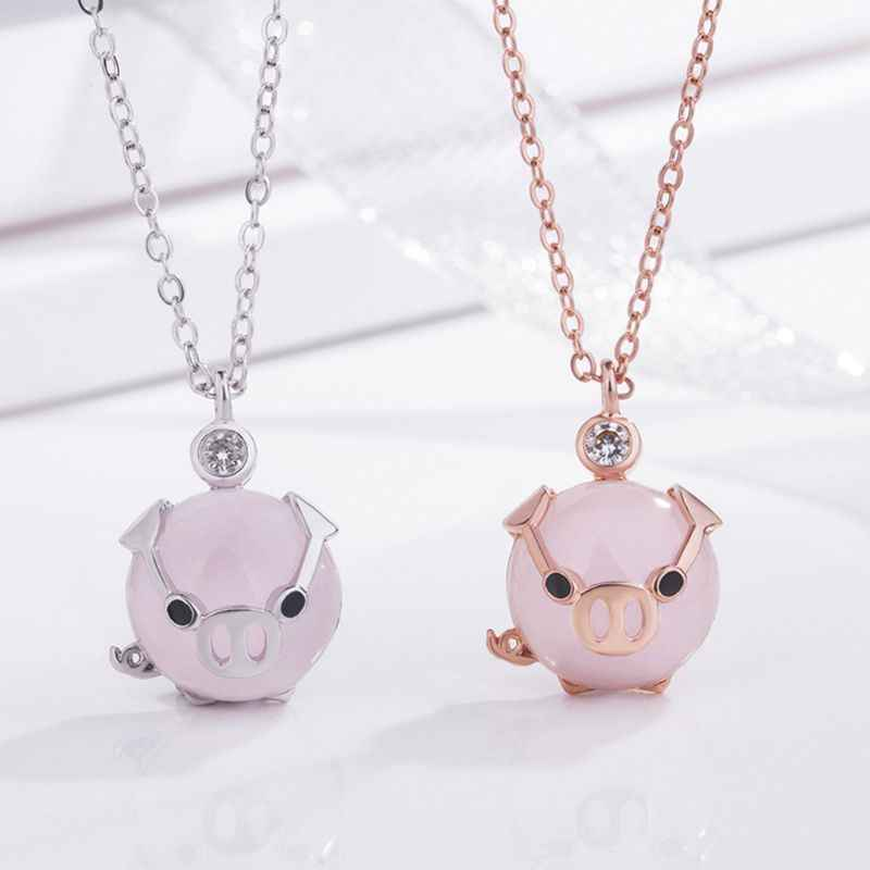 Modne naszyjniki dla kobiet moda śliczne różowe złoto różany kryształ wisiorek szczęśliwa świnia naszyjnik dziewczyna prezent