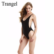 Trangel 2017 Backless swimwear one piece Swimsuit High Cut Out One Piece Swimsuit  biquinis Women Beach wear Black White Color