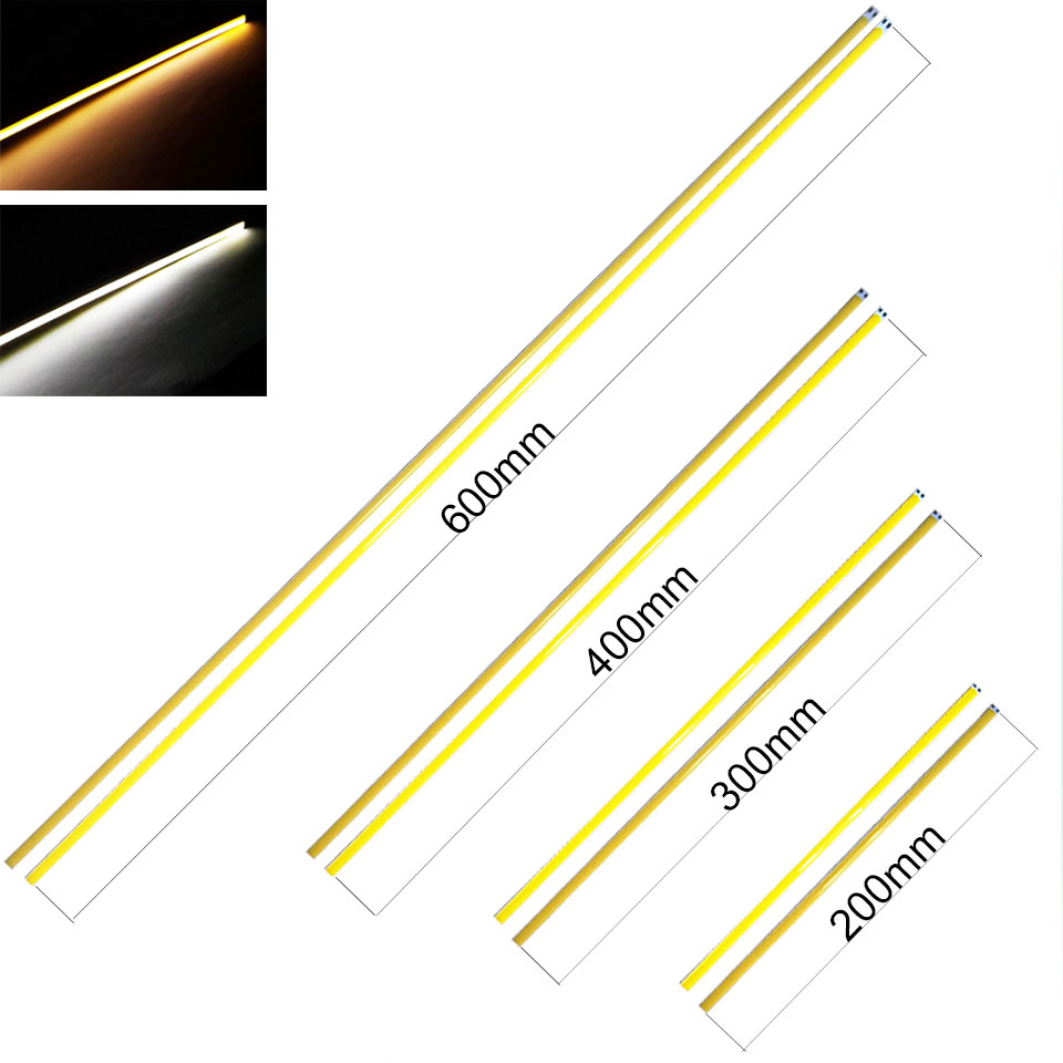 Sumbulbs 60cm 40cm 30cm COB Chip Light Bar Lamp LED Strip Lamp Bulb 20W DC 12V Flexible DRL Car Lights Warm Cold White 600*6mm