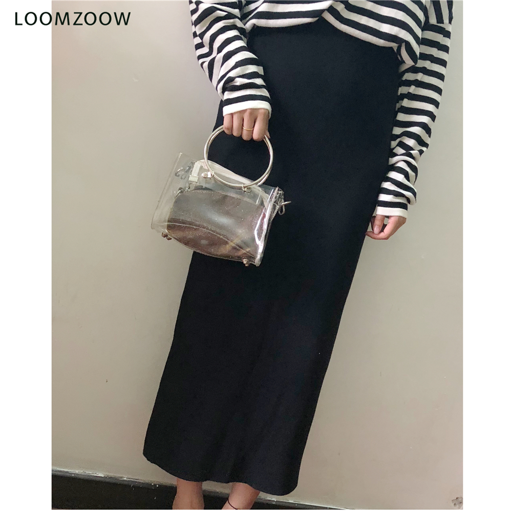 El Lana Oficina De Elástico Bodycon Otoño Invierno Larga Punto Beige negro Cintura Y Falda Lápiz gris Dropshipping Maxi Alta Mujeres 2018 axEOnqO