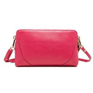 Image 3 - Moda donna borsa a tracolla borsa del cuoio genuino doppio disegno della chiusura lampo della pelle bovina tote di crossbody bag colori