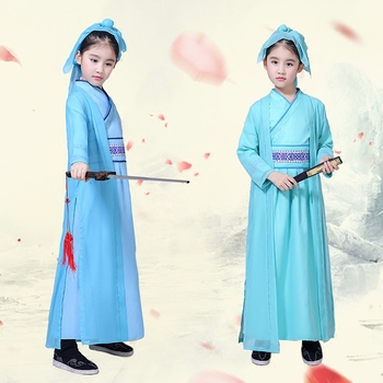 Kids Guzheng Perform Costumes Chinese Traditional National Scholar Costumes Girls Ancient Costume Tang Dynasty Hanfu Outfit 2018 autumn kids chinese princess costume traditional dance costumes girls floral children folk ancient hanfu tang dynasty dress