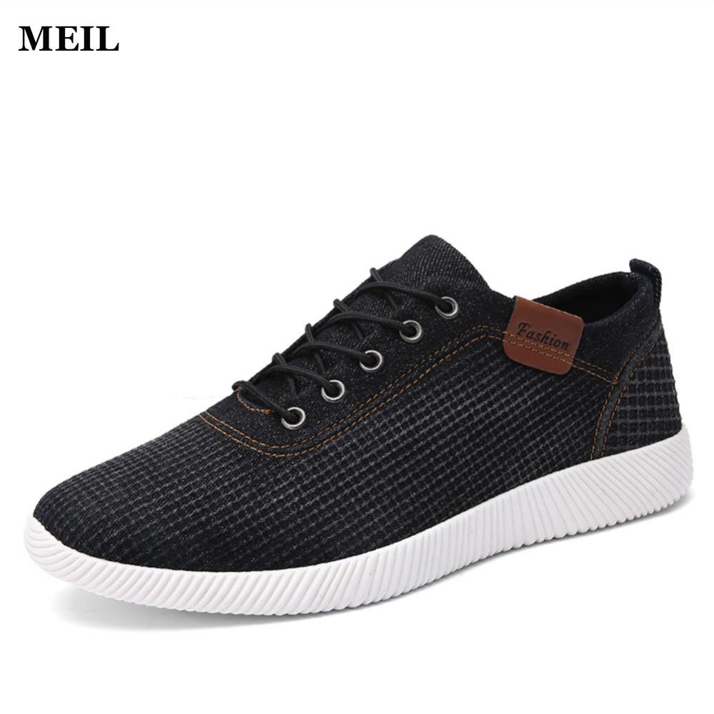 2017 új nyári márka denim alkalmi férfi lapos cipő megfelelő lapos edzőcipő férfi kényelmes tenis csónak cipő méret 39-44
