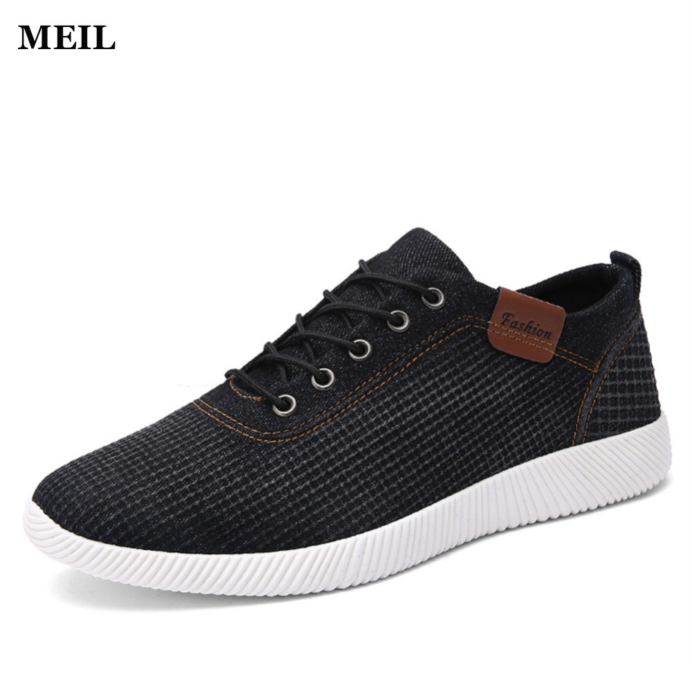 2017 New Summer Brand Denim Casual Mens Flat Shoes Matching Flat Exercise Shoes Men Comfortable Tenis Boat Shoes Size 39-44