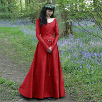 Adult Costume Halloween Medieval Renaissance Dress Round Neck Stage Dress Robe Queen Retro Costume Cosplay Vintage Maid Dress
