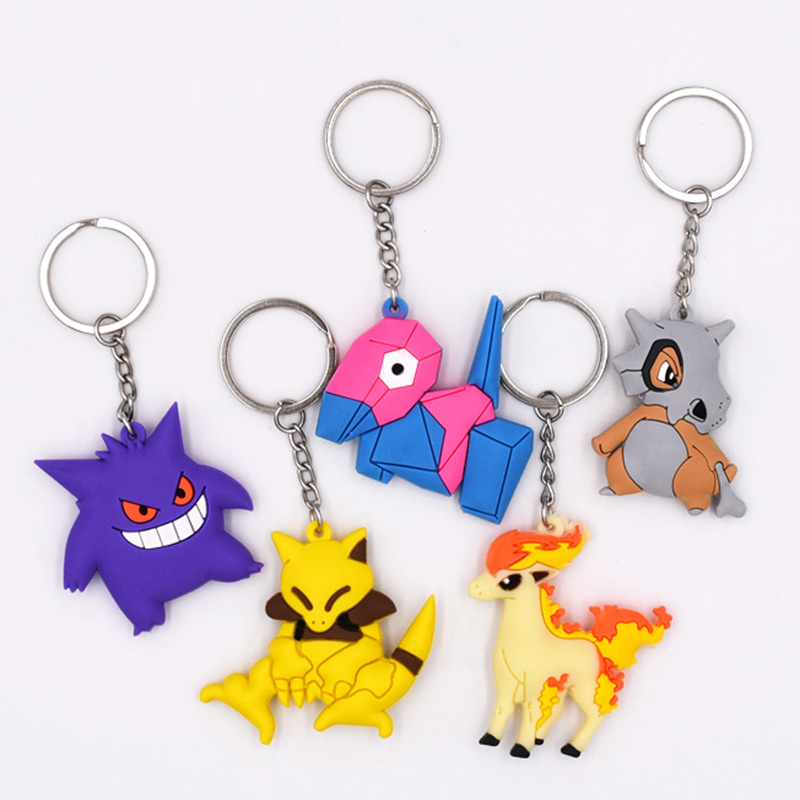 4-7cm 5 Style New Pikachu Keychain Monster Key Holder Go Key Ring Pendant 3D Mini Cubone Porygon Gengar Ponyta Abra