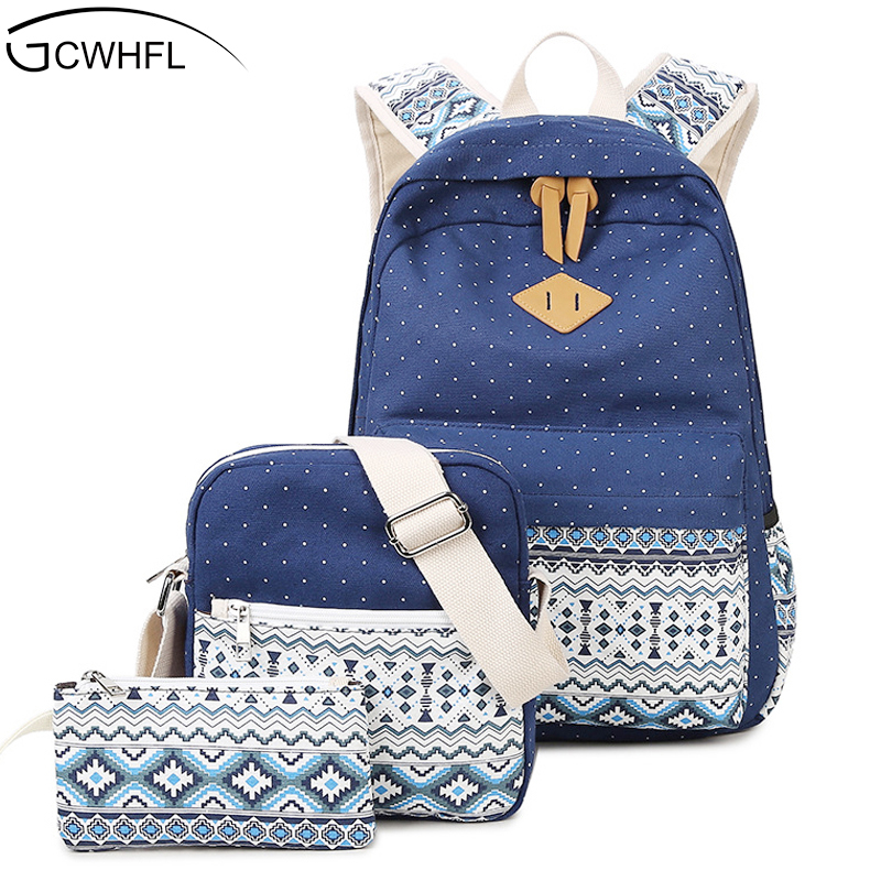 Fashion Canvas Bags 3 Sets Women Backpacks Girls School Bags Backpack For Teenager Lady National Book Bag Mochila Shoulder Bags 13 laptop backpack bag school travel national style waterproof canvas computer backpacks bags unique 13 15 women retro bags