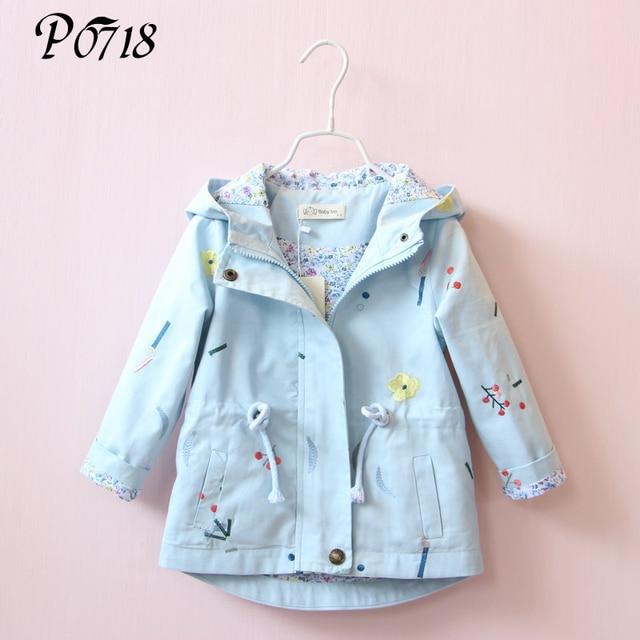 2018 Новый Демисезонный Обувь для девочек ветровка пальто детские дети цветок Вышивка верхняя одежда с капюшоном для детей ясельного возраста розовый синий пиджак Пальто для будущих мам