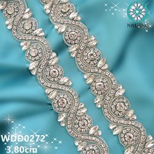(1 YARD) Bridal beaded silver rose gold clear crystal glass rhinestone applique trim iron on for wedding dress WDD0272