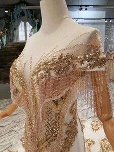 Image 4 - LS22005 luxus meerjungfrau hochzeit kleider mit goldenen spitze oansatz quaste kurzen ärmeln open back trompete robe de mariée sirène