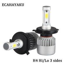 ECAHAYAKU 2X 3000K H4 LED H7 H11 H1 9005 9006 Auto S2 Car Headlight Bulb 72W 8000LM Styling 6500K 4300K 8000K led automotivo