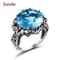 Szjinao FEMME Perfect Blue Stone Ring Oostenrijkse Crystal CZ Bloemblaadje-vormige Ringen voor Vrouwen 925 Sterling Zilveren Sieraden Groothandel