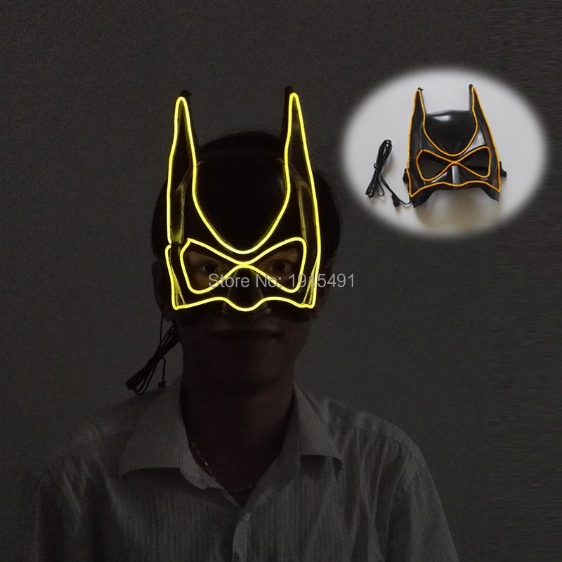 Dark Knight Movie Club Decor Hottest 3v El Light Up Rave Clothing Blink Mask Festival Gala Supplies Led Strip Superhero Mask Fashionable Patterns Lights & Lighting