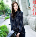 2016 Fashion new women blouse vintage woman polka dot print chiffon shirt long-sleeve turn-down collar woman top navy blue,white