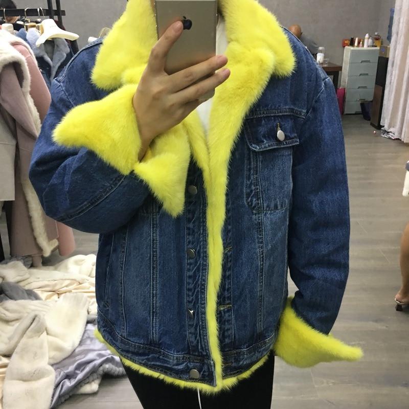 women down jacket with natural fur denim mink fur 2018 new luxury brand fashion denim coats with natural mink fur collar trim
