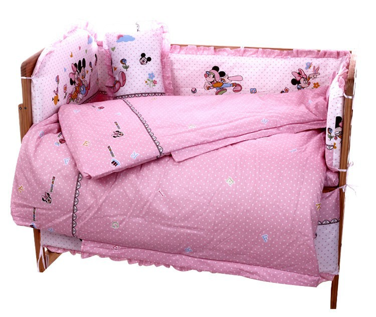 Фото Promotion! 7PCS Cartoon Baby crib bedding set 100% cotton bedclothes bed decoration (bumper+matress+pillow+duvet). Купить в РФ