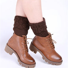 Boot Socks Women Ladies Crochet Knitted Shell Design Boot Cuffs Toppers Knit Leg Warmers Winter Short Liner Boot Socks(China)