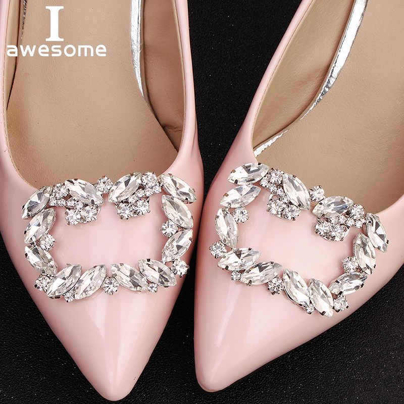 1 Pair 2 PCS Square Decorative Shoe Clips Rhinestone Crystal Charm Elegant Fashion Wedding Party Shoes Decorations Accessories