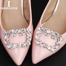 цена 1 Pair 2 PCS Square Decorative Shoe Clips Rhinestone Crystal Charm Elegant Fashion Wedding Party Shoes Decorations Accessories в интернет-магазинах