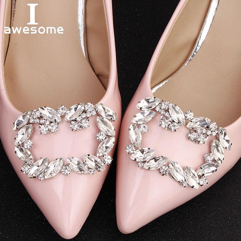 1 Paar 2 Pcs Platz Dekorative Schuh Clips Strass Kristall Charme Elegante Mode Hochzeit Party Schuhe Dekorationen Zubehör