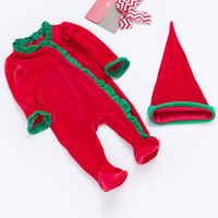 Baby Boys Girls Rompers Hat 2pcs Set Infant Toddlers Long Sleeve Christmas Romper Clothing Baby Xmas